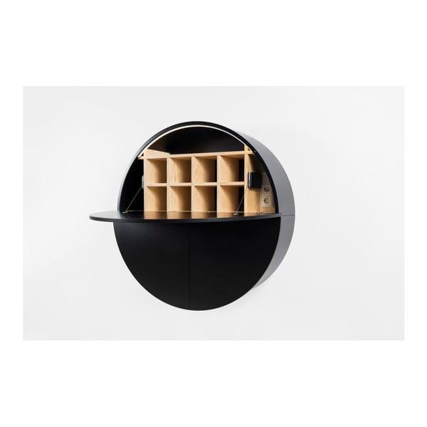 Czarne  wielofunkcyjne biurko ścienne EMKO Pill