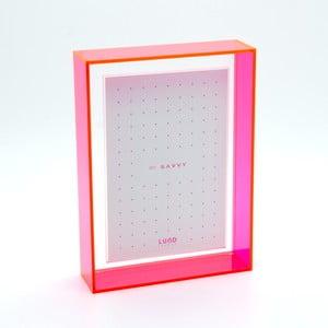 Ramka na zdjęcia z różowymi krawędziami Lund London Flash Blocco, 13,6x18,6cm