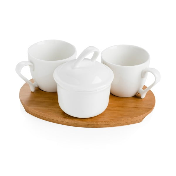 Zestaw 2 kubków i cukiernicy na bambusowej desce Cafe Blanc