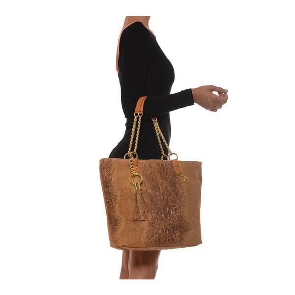 Skórzana torebka Carla Ferreri 863 Cognac