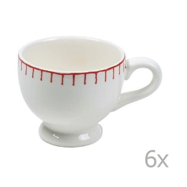 Zestaw 6 kubków Sophie Stitch 200 ml, czerwony