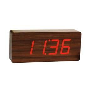 Ciemnobrązowy budzik z czerwonym wyświetlaczem LED Gingko Slab Click Clock