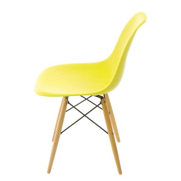 Jasnooliwkowe krzesło D2, drewniane nogi
