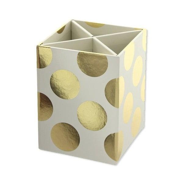 Organizer na art. papiernicze Go Stationery Gold Polka Cream