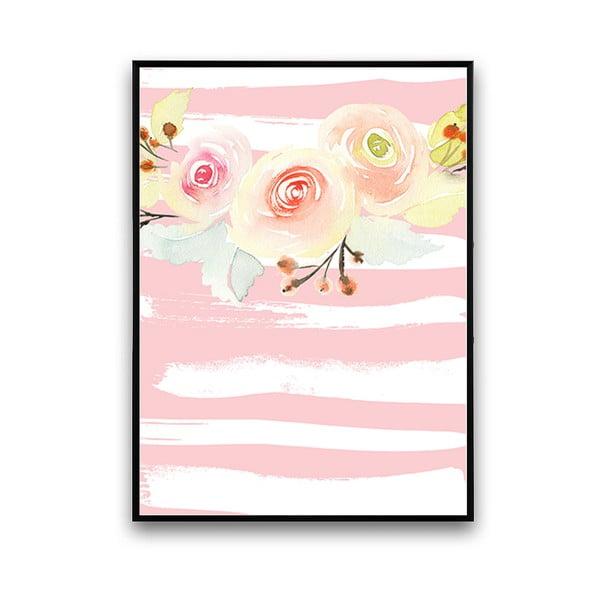 Plakat z kwiatami, biało-różowe prążkowane tło, 30 x 40 cm
