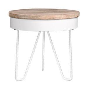 Biały stolik drewnianym blatem LABEL51 Saran