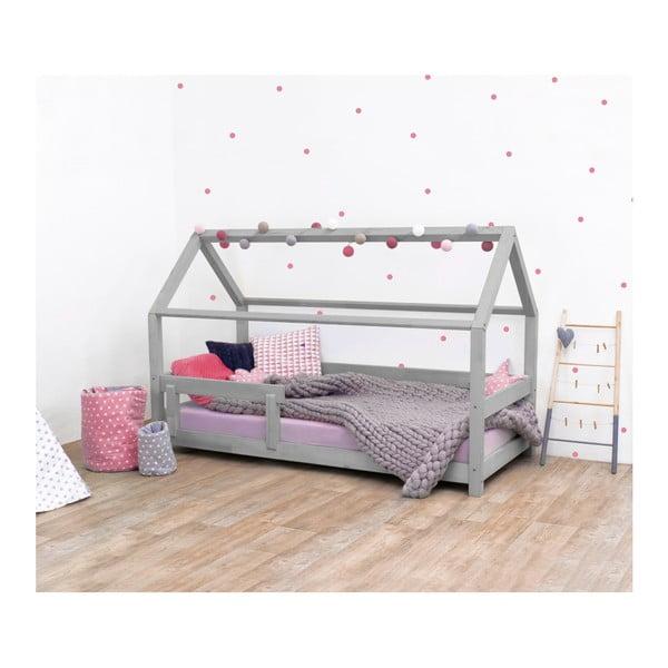 Szare łóżko dziecięce z bokami z drewna świerkowego Benlemi Tery, 90x190 cm