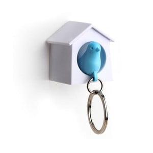 Wieszak na klucze wróbelek w budce MINI, niebieski