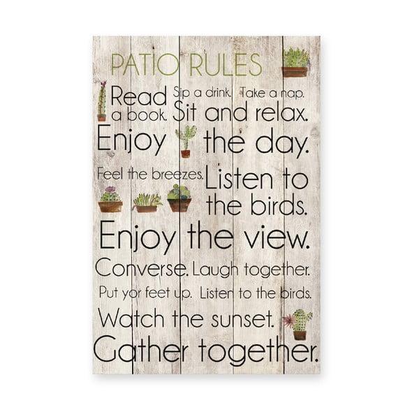 Drewniana tablica Patio Rules