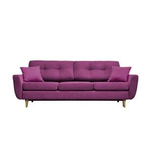 Fioletowa sofa rozkładana z jasnymi nogami Mazzini Sofas Rose