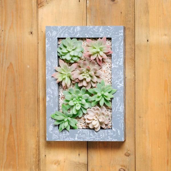 Doniczka naścienna ze sztucznymi sukulentami Wall, 30x18 cm