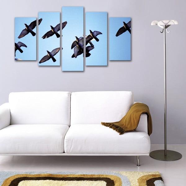 Pięcioczęściowy obraz Klucz ptaków