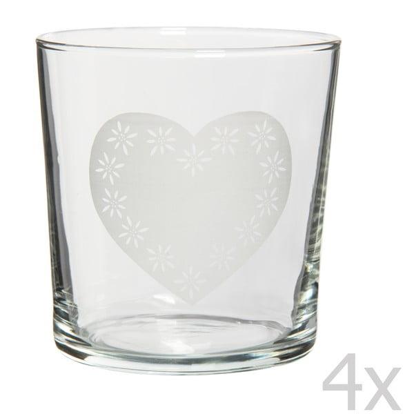 Zestaw 4 szklanek Heart, 370 ml