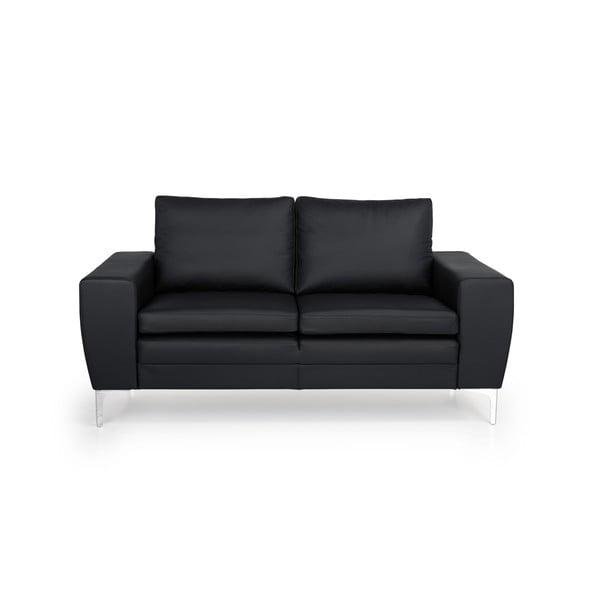 Czarna 2-osobowa sofa skórzana Softnord Twigo