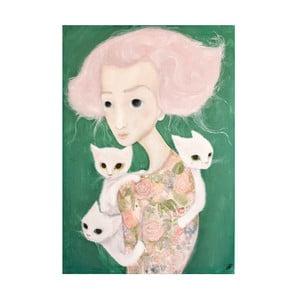 Plakat autorski: Léna Brauner Panna z kotami, 60x64 cm