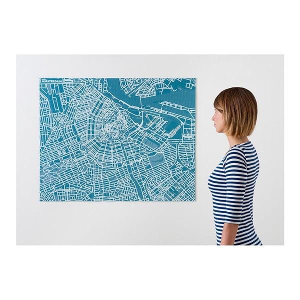 Niebieska mapa ścienna Palomar Pin Amsterdam