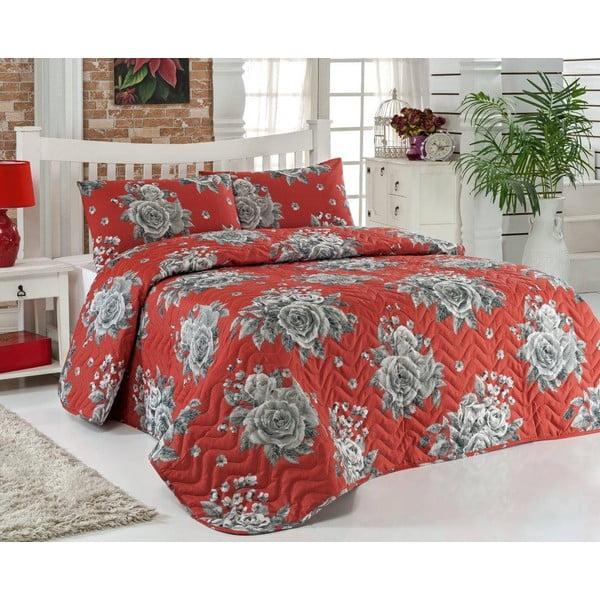 Narzuta i poszewki na poduszkę Rengigul Red, 200x220 cm