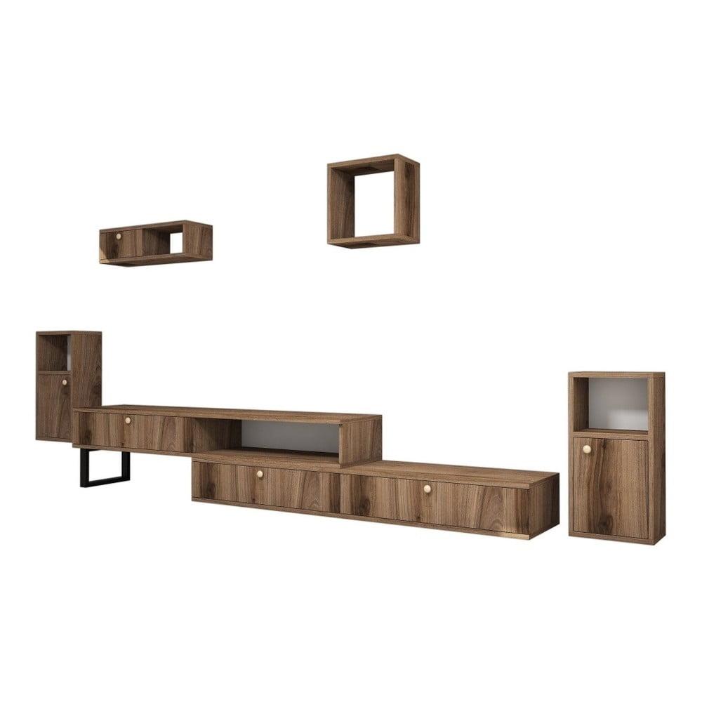 Komplet szafki pod TV i 4 półek z dekorem drewna orzecha Ratto Lux