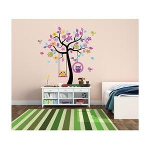 Naklejka dekoracyjna Kolorowe drzewa z sowami, 160x160 cm