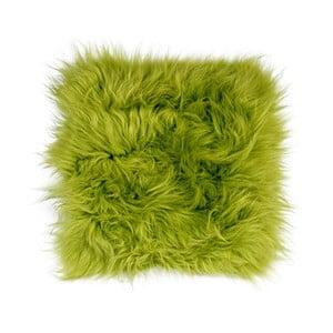 Zielona poduszka do siedzenia z długim włosiem Apple Green, 37x37cm