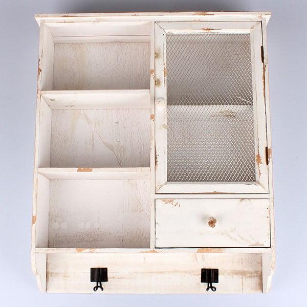 Drewniana wisząca szafka Country Time, biała