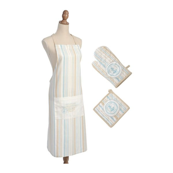 Komplet: fartuch, rękawica, podkładka pod garnek Stripe Cott