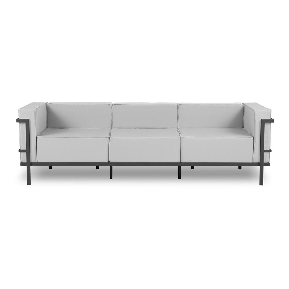 Szara 3-osobowa sofa ogrodowa w czarnej ramie Calme Jardin Cannes