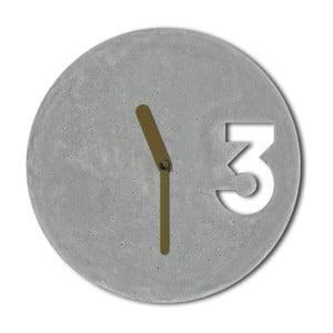 Betonowy zegar Jakuba Velínskiego, pełne złote wskazówki