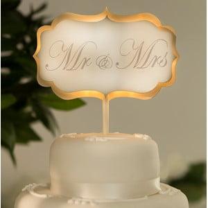 Dekoracja ślubna na tort z lampką LED Cake White