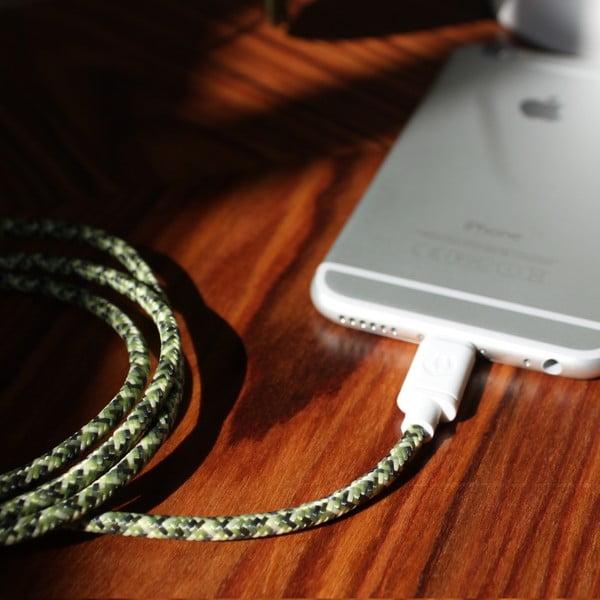 Kabel do ładowania Lightning dla iPhone 5 i iPhone 6 Green Camo, 1,5 m