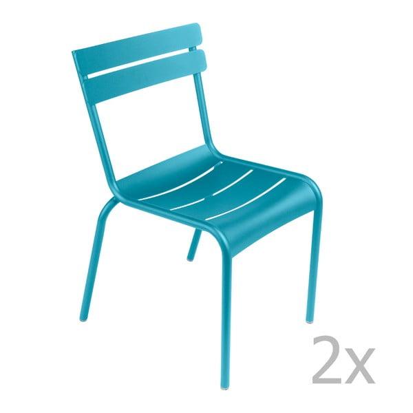 Zestaw 2 turkusowych krzeseł Fermob Luxembourg