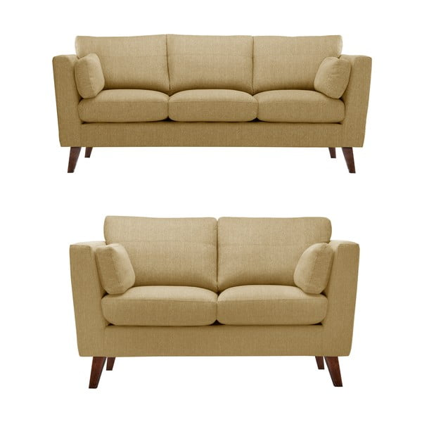 Żółty zestaw 2 sof dwuosobowej i trzyosobowej Jalouse Maison Elisa