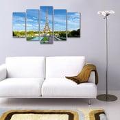 Pięcioczęściowy obraz Widok na wieżę Eiffla