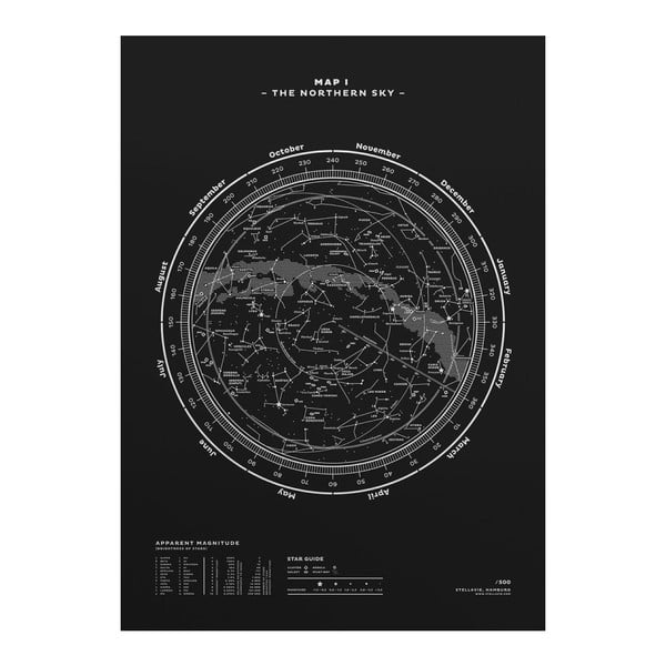 Plakat The Northern Sky Silver/White/Black, 50x70 cm