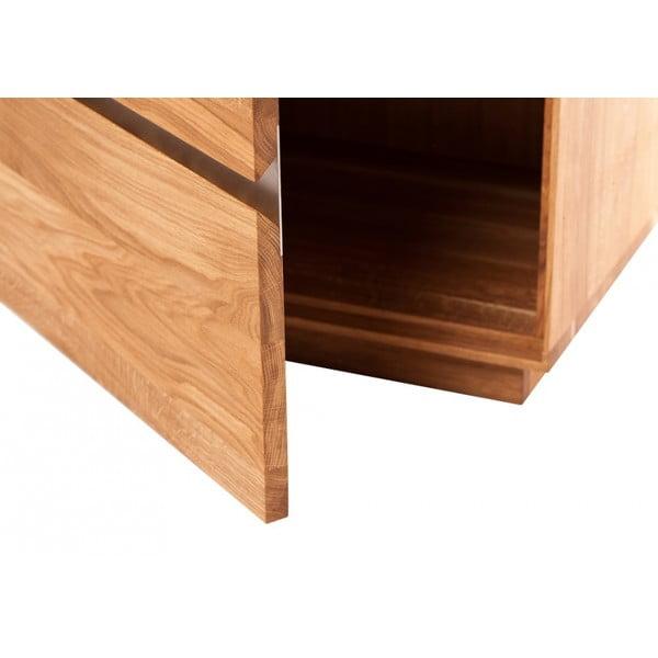 Stolik pod telewizor z dębowego drewna z metalowymi nogami Fornestas Hamilton