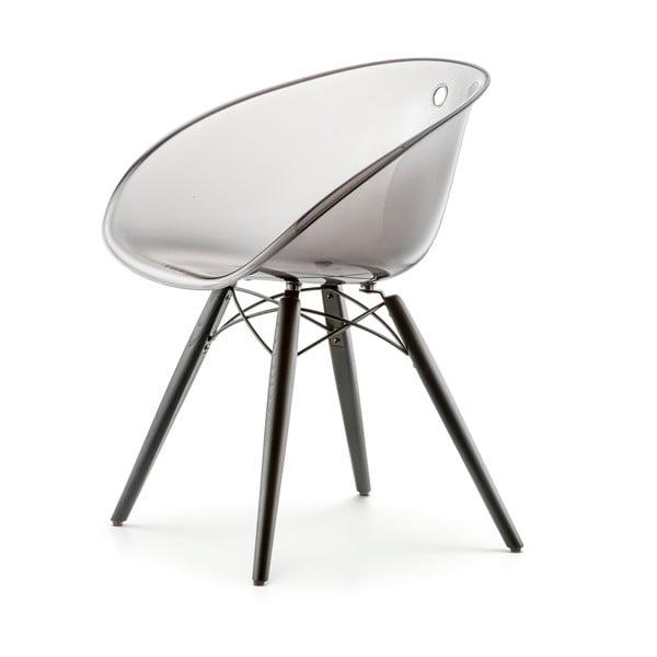 Przezroczyste szare krzesło Pedrali Gliss Wood