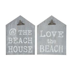 Zestaw 2 tabliczek z klamerkami Grey Beach, 22x30 cm