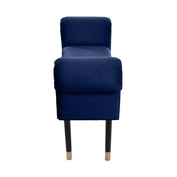 Ciemnoniebieska ławka z detalami w złotym kolorze JohnsonStyle Courtney French Velvet