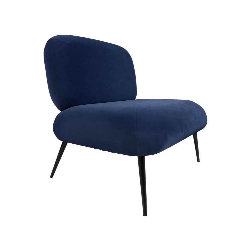 Ciemnoniebieski aksamitny fotel Leitmotiv Puffed
