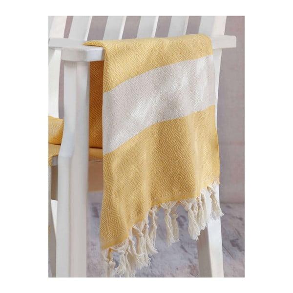 Żółto-biały ręcznik Hammam Elmas, 100x180cm