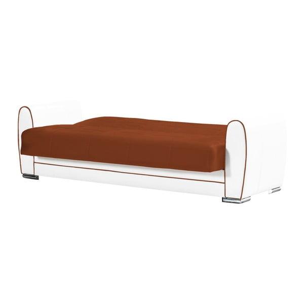 Pomarańczowo-kremowa trzyosobowa sofa rozkładana ze schowkiem Esidra Rest