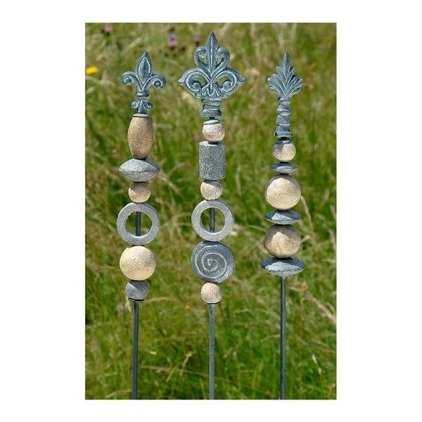 Zestaw 3 dekoracji do zatknięcia w ogrodzie Stone