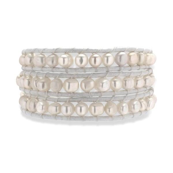 Biała bransoletka skórzana z perłami Nova Pearls Copenhagen Néreus