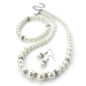 Naszyjnik, bransoletka i kolczyki Pearl Silver