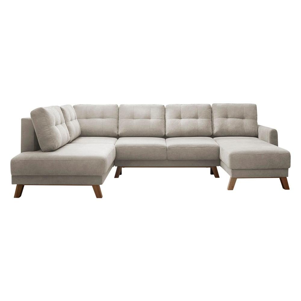Kremowobiała sofa rozkładana z szezlongiem Bobochic Paris Balio, lewy róg