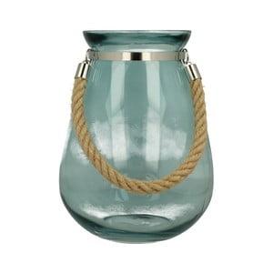 Niebieski lampion szklany Duo Gift Barents, wys. 27 cm