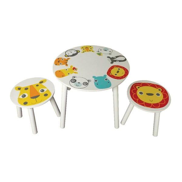 Dziecięcy stolik i dwa stołki Safri