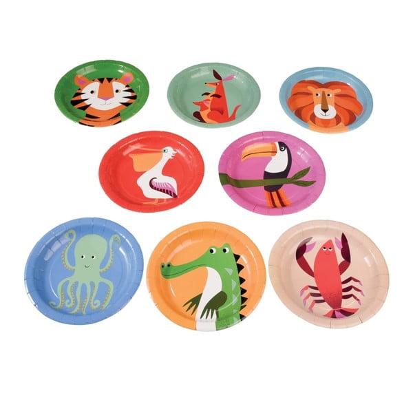 Zestaw 8 talerzy papierowych Rex London Colourful Creatures