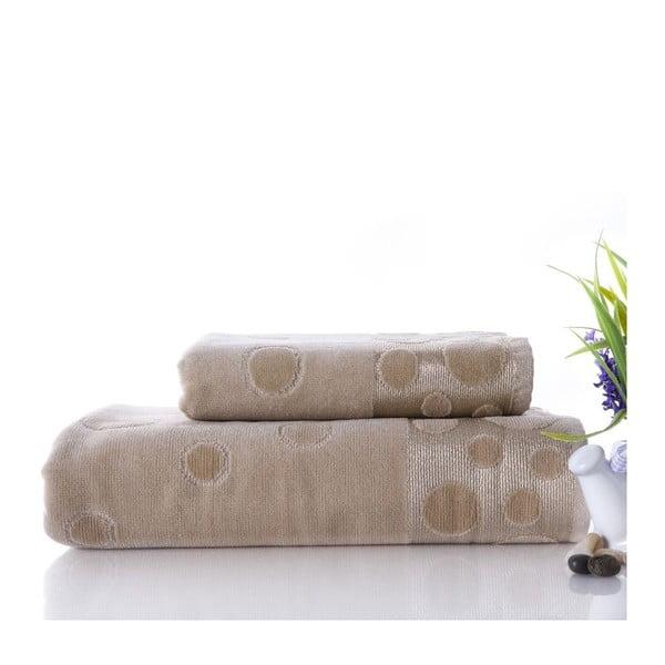 Zestaw 2 ręczników Tropical Beige, 50x90 cm i 70x140 cm