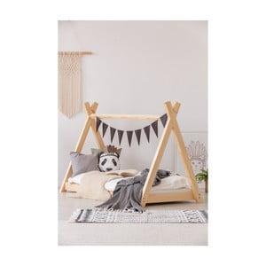 Łóżko w kształcie domku z drewna sosnowego Adeko Mila TP, 90x180 cm